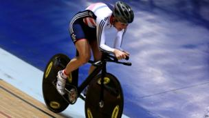 Dame Sarah Storey cycling