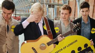 The Mayor of London Boris Johnson (second from left) is pictured busking with members of the group The King's Parade