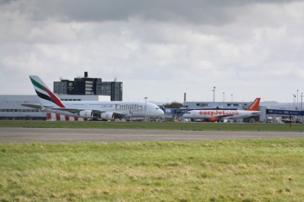 A380 super jumbo and an Easyjet plane