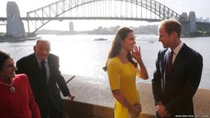 The Duke and Duchess of Cambridge pose for a photograph in front of the Sydney Harbour Bridge