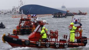 """Rescue ships take part in a rescue operation around South Korean passenger ship """"Sewol"""" which sank in the sea off Jindo on 17 April, 2014"""