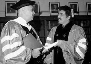William James McGill, left, president of Columbia University, presents an honorary degree to novelist Gabriel Garcia Marquez of Bogota, Colombia, June 1, 1971.