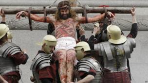 Passion of Jesus in Trafalgar Square, central London