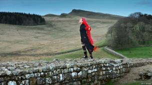 Woman on Hadrian's Wall, England (17 April 2014)