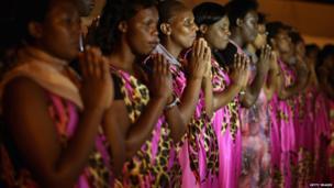 Singers remembering the Nyanza-Kicukiro genocide massacre, Rwanda - Friday 11 April 2014