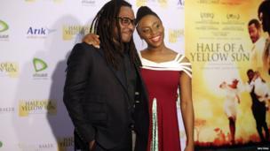L: Biyi Bandele Chimamanda, R: Ngozi Adichie - Lagos, Nigeria - Saturday 12 April 2014