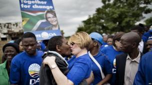 DA leader Helen Zille kissing a supporter in Hammanskraal, Gauteng, South Africa - Wednesday 16 April 2014