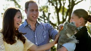 Later on Easter Sunday the Duke and Duchess of Cambridge meet Leuca the Koala during a visit to Taronga zoo...