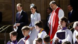The Duke and Duchess of Cambridge attended Easter Sunday mass at St Andrews Cathedral in Sydney. Australia.