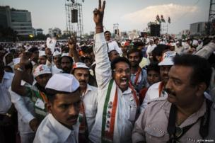 "A supporter of India""s ruling Congress Party shouts slogans during a rally on April 20, 2014 in Mumbai, India"