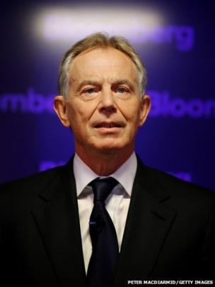 Former British Prime Minister Tony Blair speaks at Bloomberg