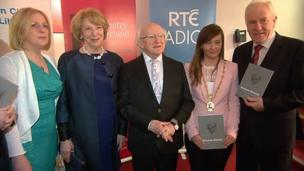 Irish President Michael D Higgins (centre) was among the guest speakers at the concert