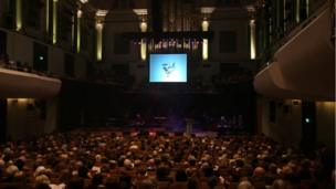 A view of the stage and audience at Dublin National Concert Hall