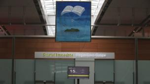 The Heaney artwork hanging in Dublin Airport's Terminal Two