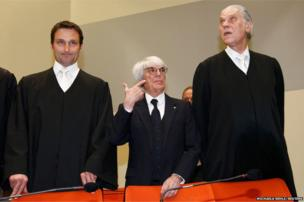 Formula 1 boss Bernie Ecclestone in court at the start of a trial on bribery charges in Munich