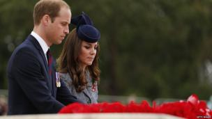 Prince William, Duke of Cambridge and Catherine, the Duchess of Cambridge lay a wreath during an ANZAC Day commemorative service at the Australian War Memorial on 25 April, 2014 in Canberra, Australia