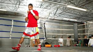Boxer Amir Khan during a workout session at Virgil Hunter's Gym in Hayward, California