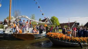 Dutch King Willem-Alexander and Queen Maxima on a boat trip in De Rijp, Netherlands (26 April)