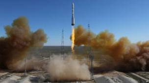 A Russian-built rocket blasts off from a launch pad in Kazakhstan's Baikonur cosmodrome, which Moscow leases as part of its space programme - 28 April 2014.