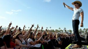 Musician Dustin Lynch performs during the Stagecoach country music festival in California - 27 April 2014.