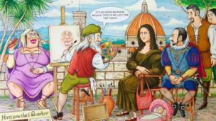 Mona Lisa cartoon painting