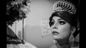 Colombian drag queen and Miss Bambuco Gay 2012 is seen in the dressing room at a gay bar in Bogota