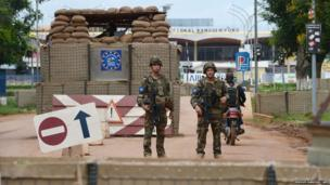 French soldiers of the European Union (EU) force guard the entrance of Bangui's airport