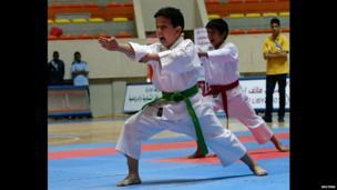 Boys doing karate in Benghazi, Libya - Saturday 26 April 2014
