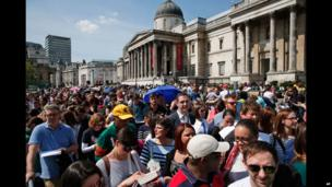 South African voters lining up in Trafalgar Square in London, UK - Wednesday 30 April 2014