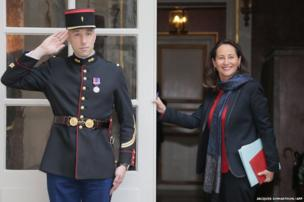 French Ecology minister Segolene Royal arrives to take part in a cabinet meeting at the Hotel Matignon in Paris