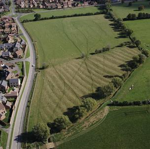 Aerial shot of ploughed field