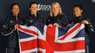 Anne Keothavong, Laura Robson, Elena Baltacha and Heather Watson of the Great Britain Fed Cup Team pose on January 25, 2012.