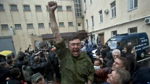 A man screams after being released from a local police station which was stormed by pro-Russian protesters in Odessa - 4 May 2014