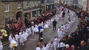 The children's dance through Helston