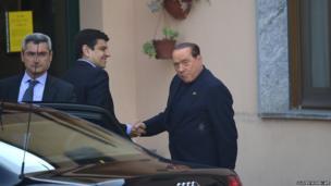 Former Italian Prime Minister Silvio Berlusconi arrived at a Catholic care home near Milan