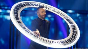 Ovi of Paula Seling & Ovi from Romania performs on stage during the second Semi Final of the Eurovision Song Contest