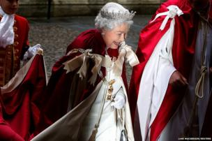 Britain's Queen Elizabeth arrives for a Service of the Order of the Bath at Westminster Abbey in London