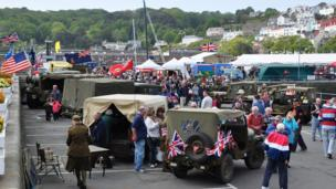 Military vehicles display in St Peter Port, Guernsey
