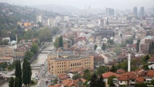 Sarajevo skyline with renovated city hall