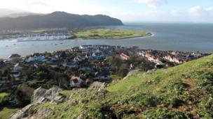 Overlooking Conwy marina, Deganwy, and the Conwy estuary