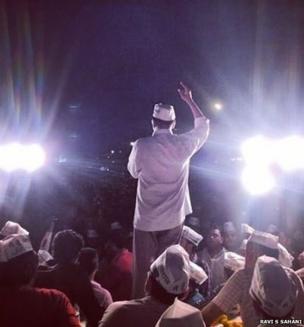 rvind Kejriwal, the Aam Aadmi Party candidate from Varanasi, speaks during a public meeting near Banaras Hindu University.