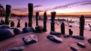 Groynes on Llanfairfechan beach