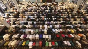 Muslims pray at a mosque in Lagos, Nigeria on 9 May 2014