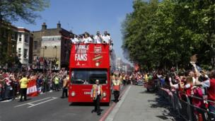 Arsenal FC victory parade in London (18 May 2014)