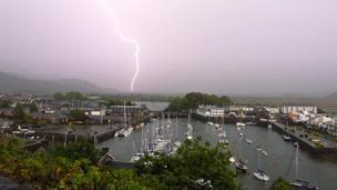 Lightning over Porthmadog harbour