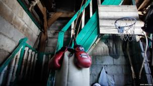 A makeshift basketball court is seen inside of a residence in Pamarawan, Malolos Bulcan Province in the Philippines.