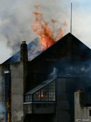 The flames engulfed the roof of the Glasgow School of Art Charles Rennie Mackintosh building