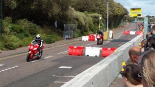 Moto GP riders on East Cliff