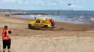 Dakar Rally racing cars on Bournemouth beach