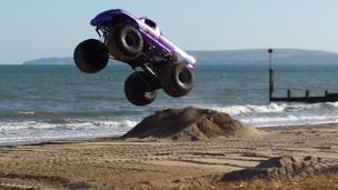 Monster trucks on Bournemouth beach